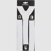 WIDE WHITE SUSPENDERS, 1 3/8 INCH