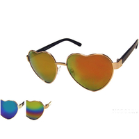 HEART SHAPE REVO LENS, PLASTIC ARMS SUNGLASSES, GOLD & SILVER