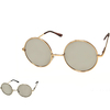 LENNON SIZE SUNGLASSES, MIRROR AND REVO PINK LENS, SPRING TEMPLE