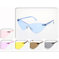 SOLID INJECTION MOLD FRONT, ASSORTED COLORS CAT SHAPE SUNGLASSES