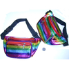 RAINBOW OIL SLICK STRIPE LOOKING FABRIC FANNY PACKS