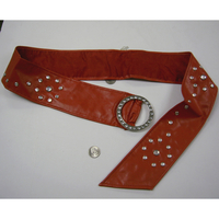 RED BELT WITH GEM STUDS ON THE ENTIRE BELTW/80'S RHINESTONE HOOP