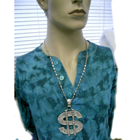 DOLLAR SIGN LARGE SIZE NECKLACE IN SILVER METAL