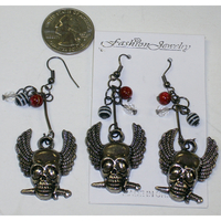 SKULL FACE EARRINGS WITH WINGS AND BEADS