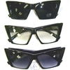 CAT SHAPE SHARP SUNGLASSES ALL BLACK FRAMES 8 DARK, 4 CLR FRAMES