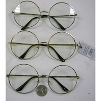 LARGE FLAT FRAMES ROUND METAL FRAMES CLEAR LENS GLASSES