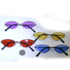 SMALL METAL FRAMES COLOR LENS, CAT HIP SHAPE SUNGLASSES