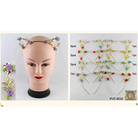 GOLD LEAVES CAT EARS METAL HEADBAND WITH SMALL LEAVES & FLOWERS