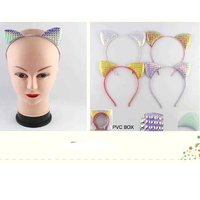 CAT EARS IN IRIDESCENT COLORS AND ASSORTED COLOR BANDS