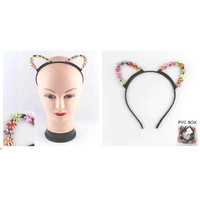 CAT EARS  IRIDESCENT FLOWERS ON EARS HEADBANDS