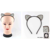 CAT EARS LOOK WITH GEM LOOK BORDER WITH SMALL PEARLS BEADS LOOK