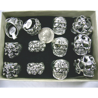 SKULL LARGE MENS RINGS IN A DISPLAY BOX, ASST SIZES
