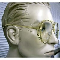 CLEAR LENS XL AVIATORS, SIDE  MINOR SHIELD ON SIDE,2 GOLD SHADES