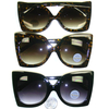 LARGE LADIES STYLE SUNGLASSES, BLACK AND TORTOISE FRAMES