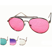 AVIATOR METAL FRAMES WITH GLITTER COLOR LENSES