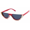 FLAT TOP SUNGLASSES WITH CLEAR RHINESTONES, ASST COLOR FRAMES