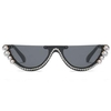 FLAT TOP SMALL FRAME SUNGLASSES WITH A RHINESTONE BORDER