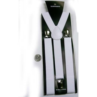WHITE SUSPENDERS, 1 INCH WIDE
