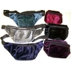 VELVET FEEL FABRIC, 2 ZIPPER FANNY PACKS, 6 COLORS