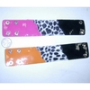 NEON WITH BLACK STRAP BRACELET WITH WHITE LEOPARD FUR, SNAPS