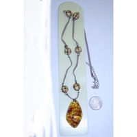 AMBER BROOCH LOOK WITH NATURAL WOOD BEADS AND SUEDE CORD NECKLA