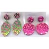 PRINT IS BABY DOLL AND FLOWERS, 3 COLORS, COOL MOD SHAPE EARRING