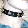 SPIKES AND BULBOUS DESIGN ON A BLACK CHOKER NECKLACE