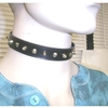 2 SIZES SMOOTH SPIKES CHOKER NECKLACES ON A PLEATHER STRAP