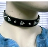 SPIKE & RIVET ON A BLACK PLEATHER STRAP CHOKER