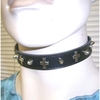 SMALL SPIKE & CROSS RIVETS ON A BLACK PLEATHER CHOKER