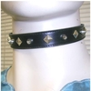 SPIKE & DIAMOND SHAPE RIVET BLACK PLEATHER CHOKER