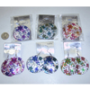 6 ASSORTED COLOR PRINTS OF FLOWERS ON A SEA SHELL BASE EARRING