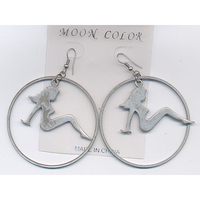 TRUCKER GIRL IN BRONZE & PEWTER COLOR EARRINGS