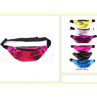 GLITTER BRIGHT COLOR FANNY PACKS, 2 ZIPPERS
