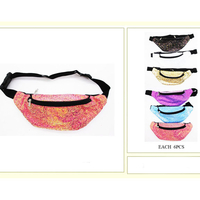 6 SOFT COLORS GLITTER FANNY PACKS, 2 ZIPPERS