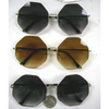 8 SIDED METAL FRAMES, SPRING TEMPLE, DARK LENS SUNGLASSES