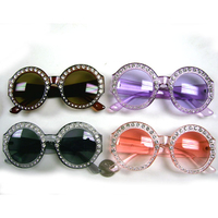 ROUND FRAMES WITH CLEAR GEMS SUNGLASSES