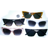 CAT SHAPE FRAMES FLAT BOTTOM, 5 COLORS, DARK LENS SUNGLASSES