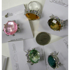 GEM CUT RING IN ASSORTED COLORS, ADJUSTABLE BAND