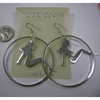 TRUCKER GIRL IMAGE METAL CHROME COLOR EARRINGS