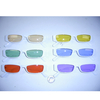 WHITE THIN FRAMES SUNGLASSES WITH ASST COLOR LENSES