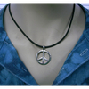 PEACE SIGN CHOKER NECKLACE, SILVER COLOR