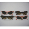 CAT EYE SUNGLASSES WITH RHINESTONES, SALMON PINK & BROWN FRAMES