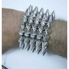 SILVER SPIKE STRETCH ON BRACELET, 5 ROWS, VERY GOOD QUALITY.