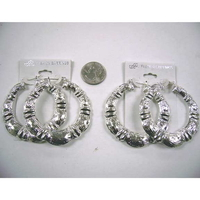 BAMBOO LOOK SILVER METAL DOUBLE SIDED EARRINGS