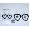HEART SHAPE BLACK & WHITE EARRINGS , HEARTS IN HEARTS