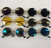 GOLD, ROUND METAL FRAME, SHIELD ON SIDE, ASSORTED LENSES