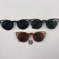 CATEYE ROUND METAL FRAME SUNGLASSES WITH DARK LENS