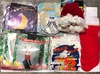 1 BOX OF KIDS SANTA SUITS, HAT AND BEARDS, 4 STCKGS, HALL BAGS