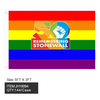 RAINBOW 3X5 FEET FLAG WITH 50 REMEMBERING STONEWALL PRINT